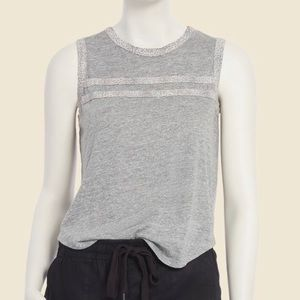 NWT CHASER GREY TANK WITH LEOPARD VARSITY STRIPES